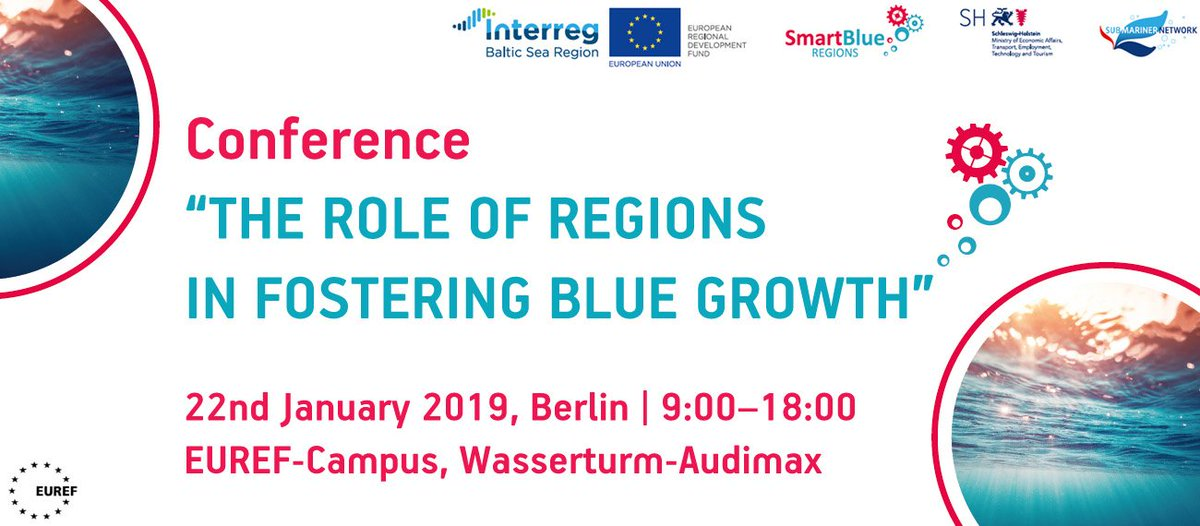 Interested to know more about the role of regions in fostering #BlueGrowth? How to apply regional #SmartSpecialisation approaches? What about relevant policy measures? Attend the conference to discuss these topics and more. #SmartBlueRegions #Interreg #BSR @SubmNet