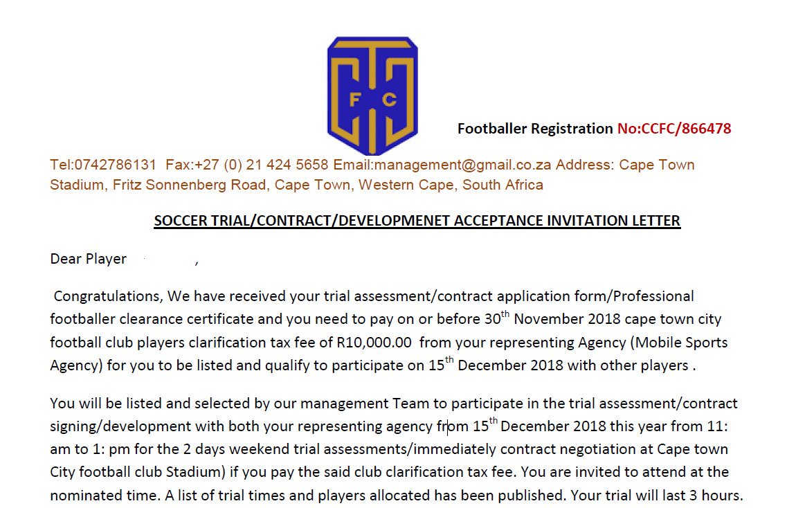 scam ctcfc distance itself from this fake letter as the club will never demand money for trials iamcityfcpictwittercomo7z3cqymdo