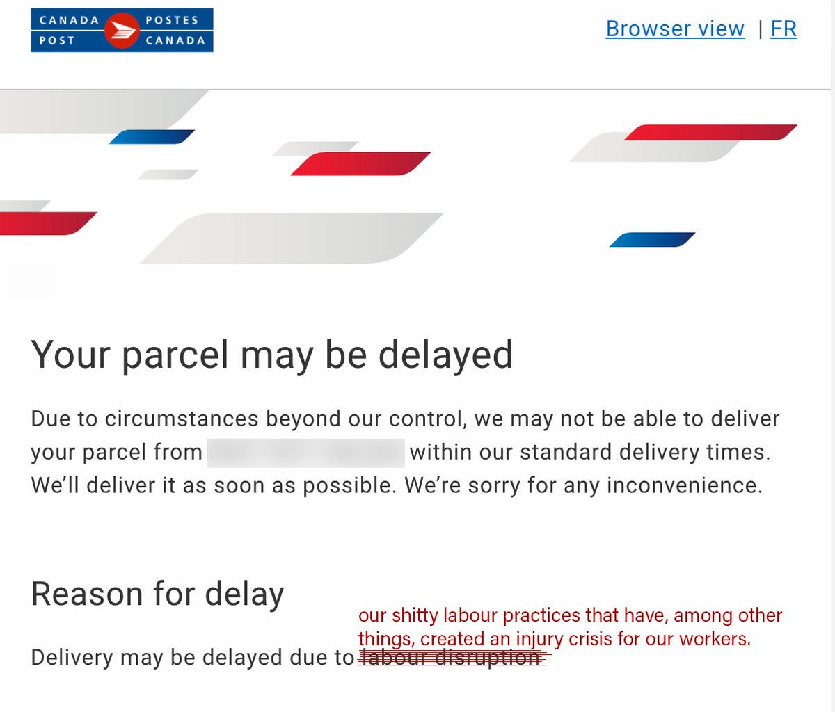 Dear Canadapostcorp Thanks For The Update On My Parcel I Noticed Some Errors And Updated Your Message Accordingly Feel Free To Use This Edited Version