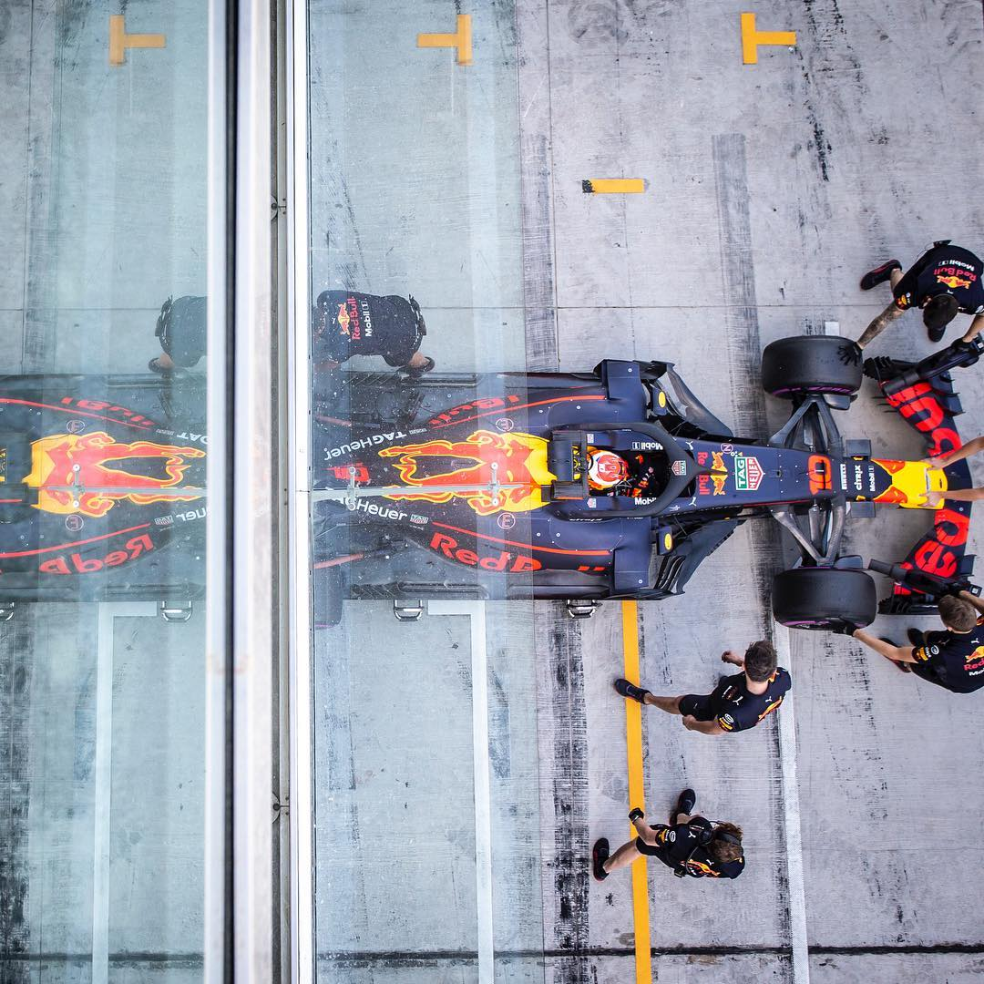 New chapter! @redbullracing His 1st time a Official team driver Best time: 1:37.916 129 laps on the 2019 @Pirelli compound 5 tires  #FullGas #Gasly #GAS10 #RB14 #AbuDhabiTest #Fit4F1testing  Credit @PierreGASLY @instagram