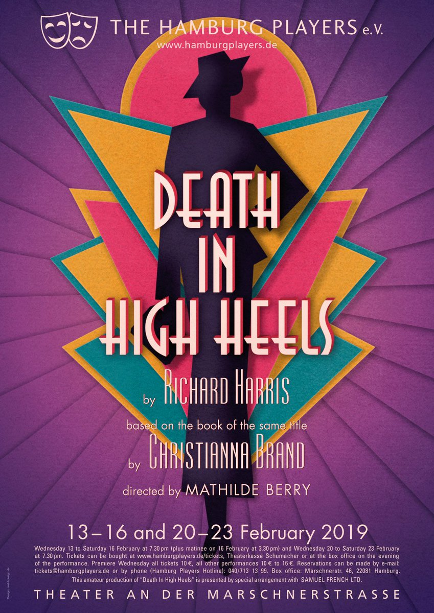 """We already have a wonderful poster for our upcoming production (13 to 23 Feb 2019) - the stylish and entertaining whodunnit """"Death in High Heels"""". #theaterinhamburg http://www.hamburglayers.de/current-production…pic.twitter.com/CqPHxZOKQ3"""