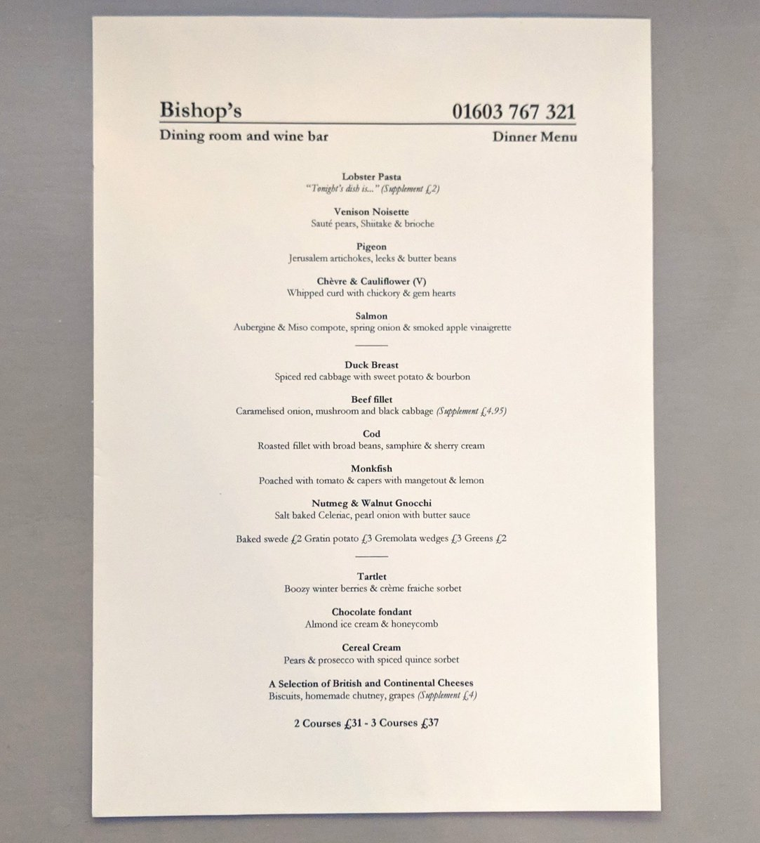 Bishops Dining Room On Twitter The Menu Tonight That Beef