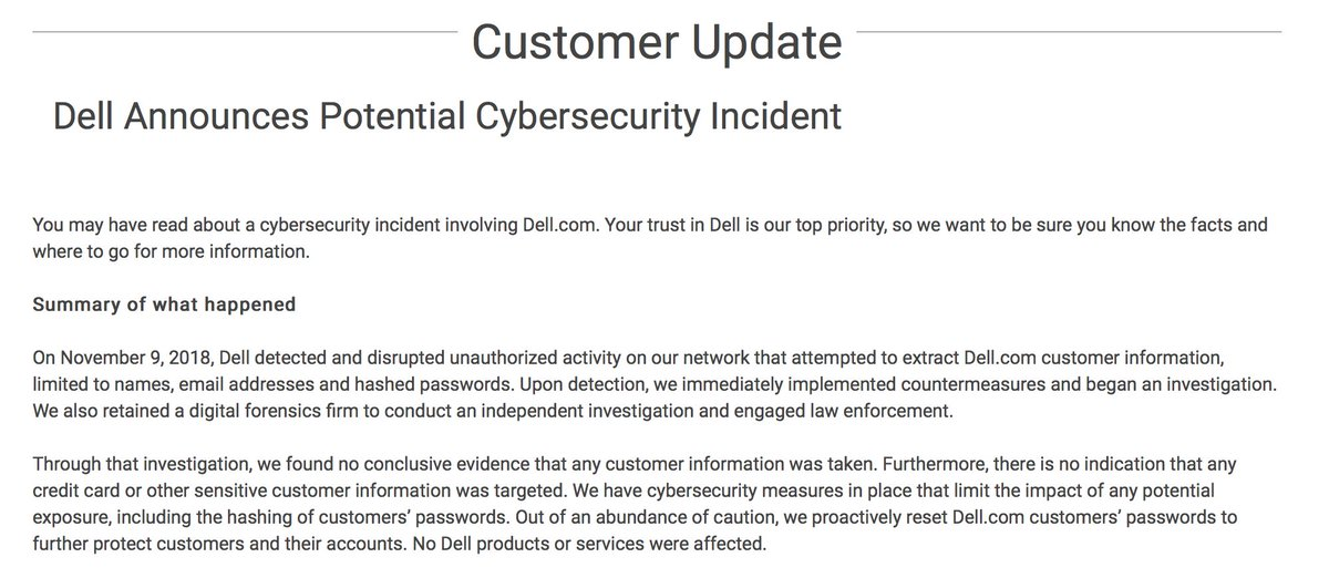 #Dell has announced a data #breach: https://t.co/YFzkcfqZ5k  Story to come soon.