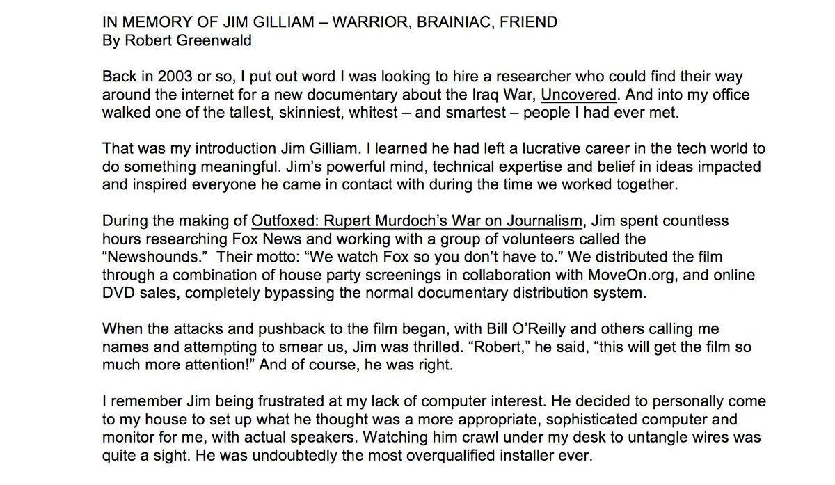 Brave New Films On Twitter In Memory Of At Jgilliam Founder And Ceo