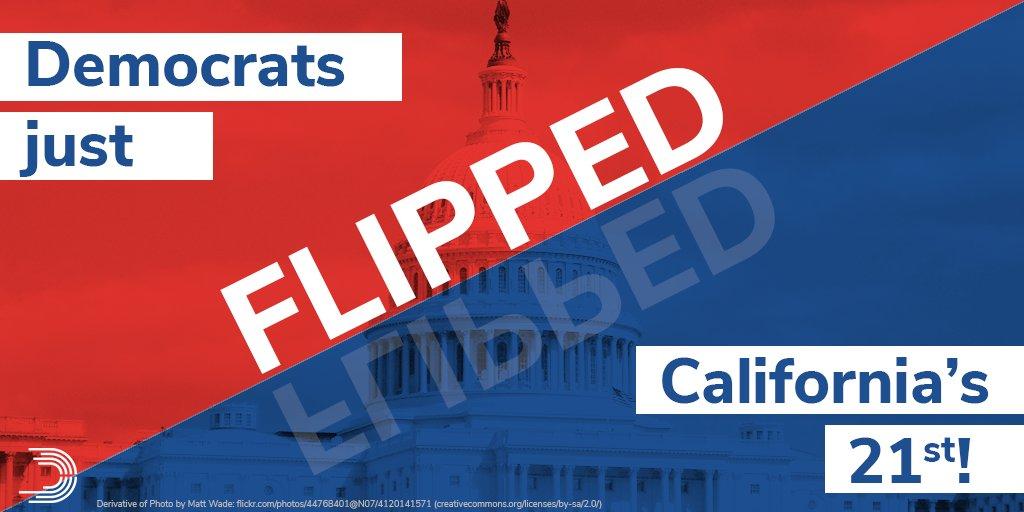 BREAKING: Democrats just FLIPPED #CA21 from #RedToBlue!!! Big congratulations to Congressman-elect @TJCoxCongress! #Midterms2018<br>http://pic.twitter.com/xMsT3tLavj