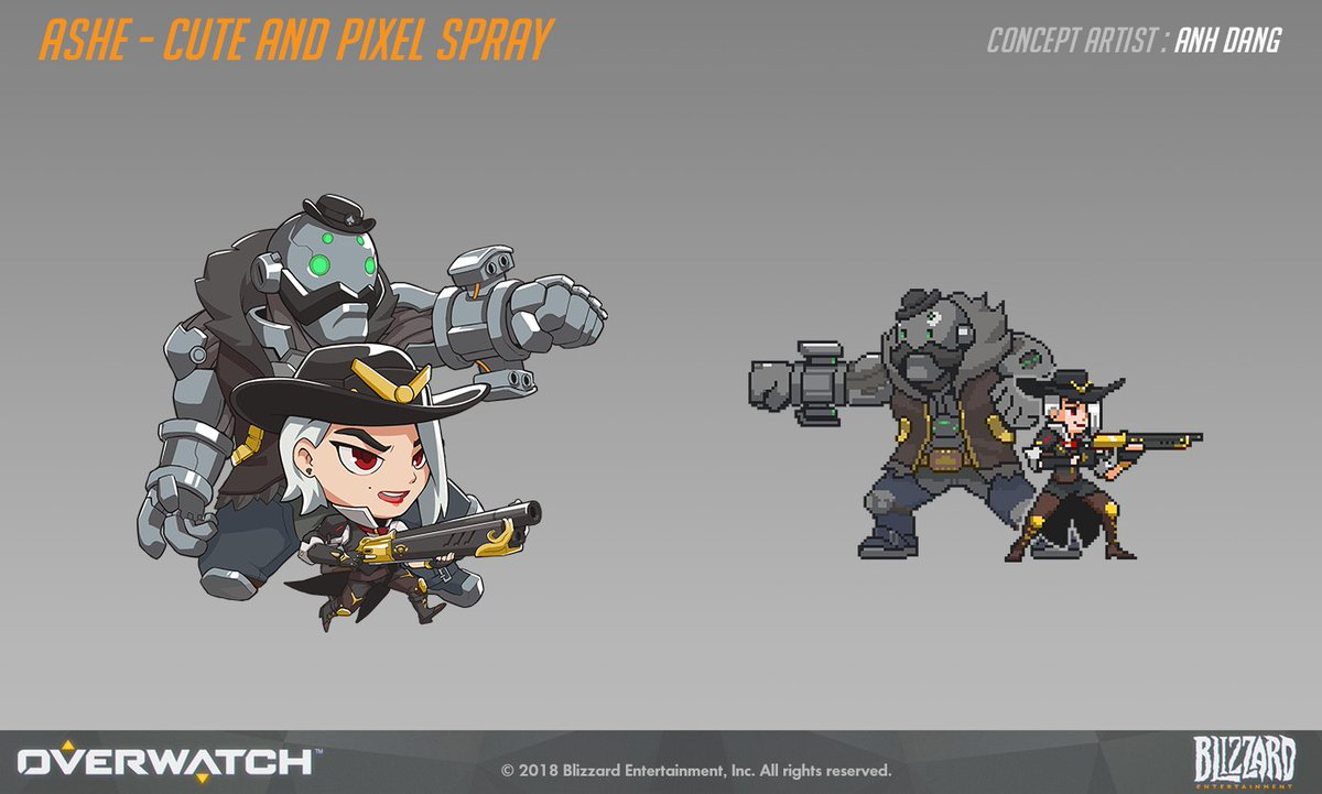Overwatch -ALL Ashe Skins, Sprays, Emotes and Highlight ...