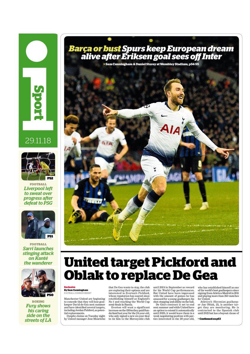 """iSport bränner på med """"Exklusivt  United siktar in sig på Pickford och  Oblak som ersättare till De Gea"""". Om nu den spanska målvakten lämnar Old  Trafford i ... ac6ad8d09c23a"""