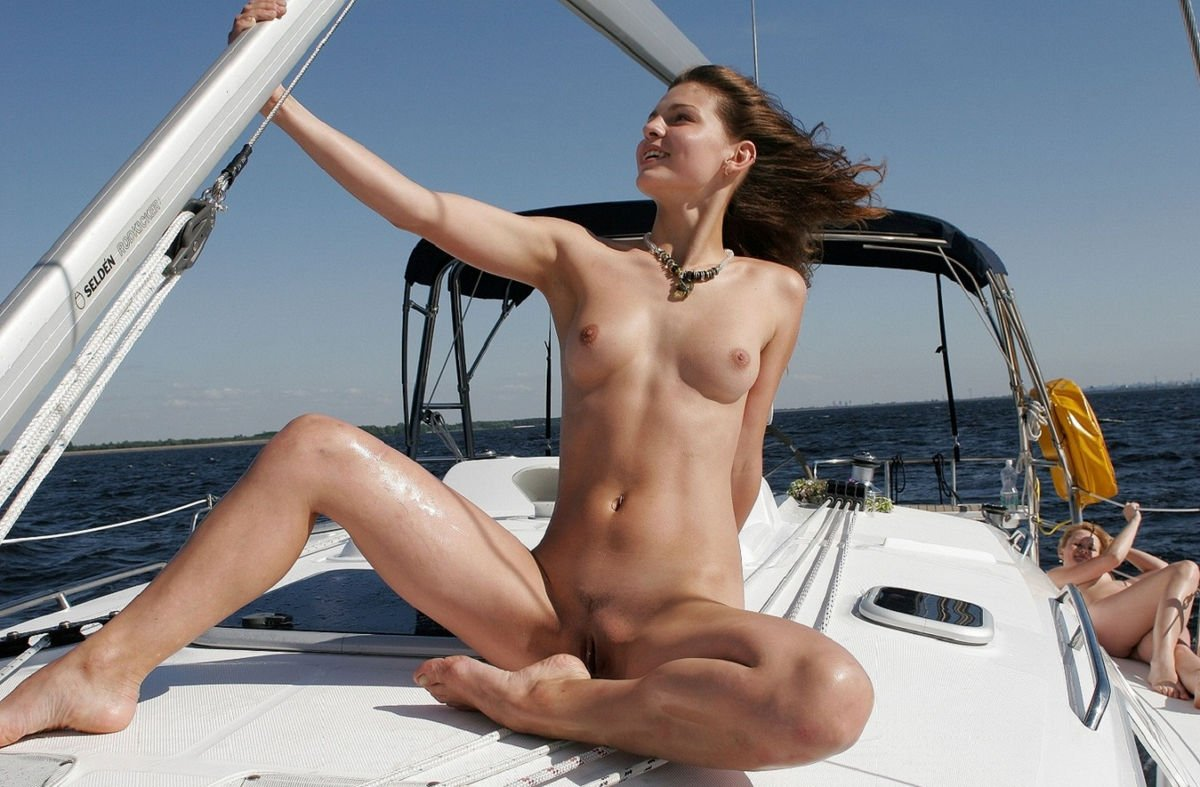My topless aunt teasing me on our boat