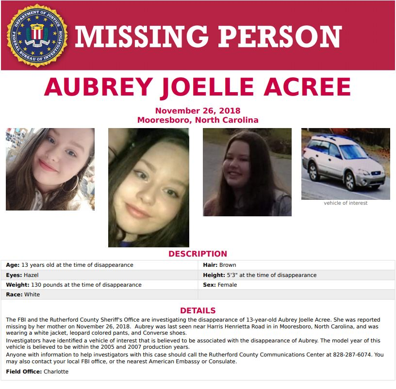 The #FBI has joined the search for Aubree Acree. #Missing in Rutherford County. LATEST >> https://t.co/kV2gpAUabh