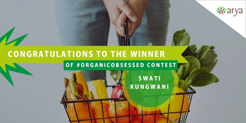 Congrats @Swaty_here, do share your hamper with that #OrganicObsessed friend.   #TagaFriend #AryaFarmGoodness #MakeItWithArya #OrganicObsessed #Organic #Foodie #OrganicChefs #organicfood #Foodstagram #Foodie #Healthy #Fitness #Fit #HealthyEating #WinnerAnnounced #Congratulations<br>http://pic.twitter.com/iE12MMRmLV