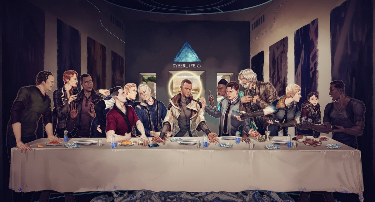 #DetroitBecomeHuman #Connor #Kara #Markus #ConnorArmy #DBH The Last Supper 我总算画完了【握拳】