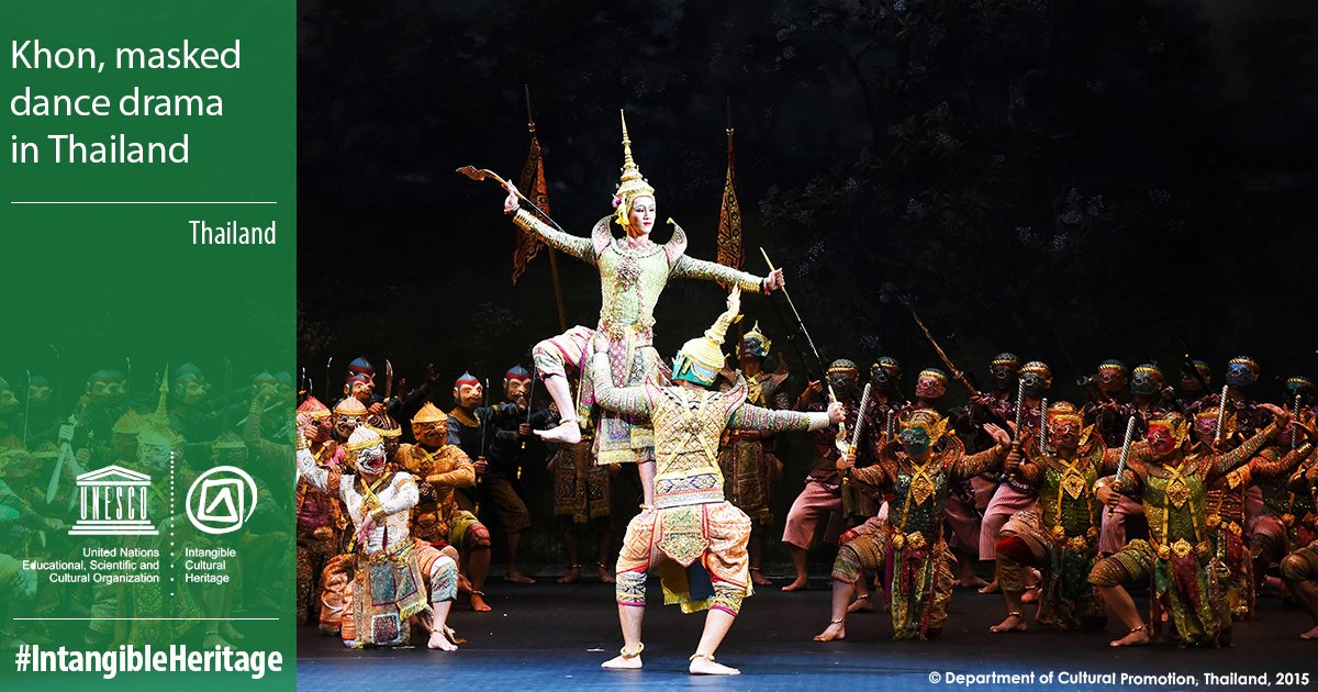 🔴 BREAKING  Khon, masked dance drama in #Thailand🇹🇭 has just been inscribed on the #IntangibleHeritage list. Congratulations! 👏  ℹ️ https://t.co/PNuBg7Zd8R  #LivingHeritage