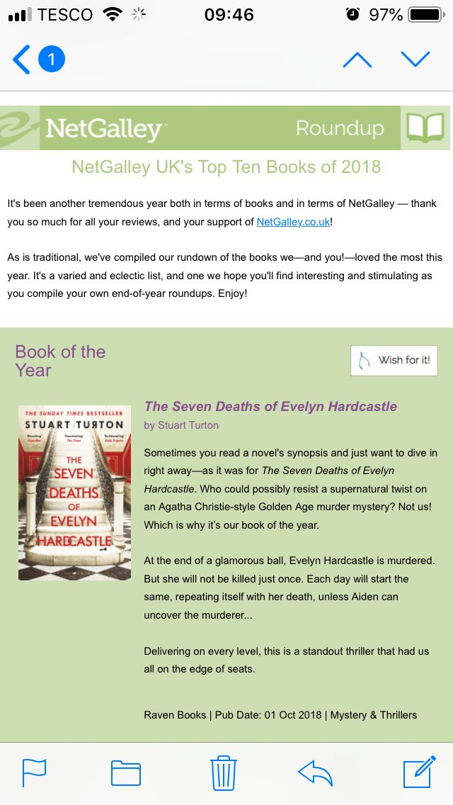 CONGRATULATIONS to @stu_turton on #SevenDeaths has been chosen as @NetGalley's Book of the Year!