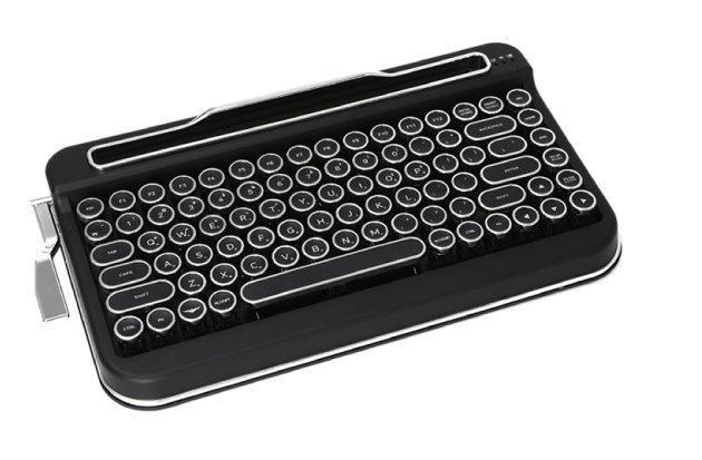 【朗報】タイプライター風の無線キーボード、Makuakeで再び予約開始青軸より操作音が抑えられた赤軸も登場。側面のレバーで、単語や文章の保存と入力が実行できる機能も搭載している。