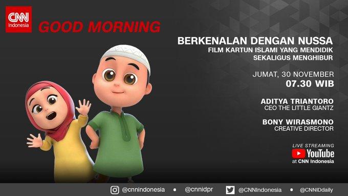 #CNNIDGoodMorning akan hadir membahas Berkenalan dengan Nussa, Film Kartun Islami yang Mendidik Sekaligus Menghibur bersama Aditya Triantoro dan Bony Wirasmono. Saksikan selengkapnya besok pagi pukul WIB di @TRANSTV_CORP atau #CNNIndonesia melalui streaming YouTube! Photo