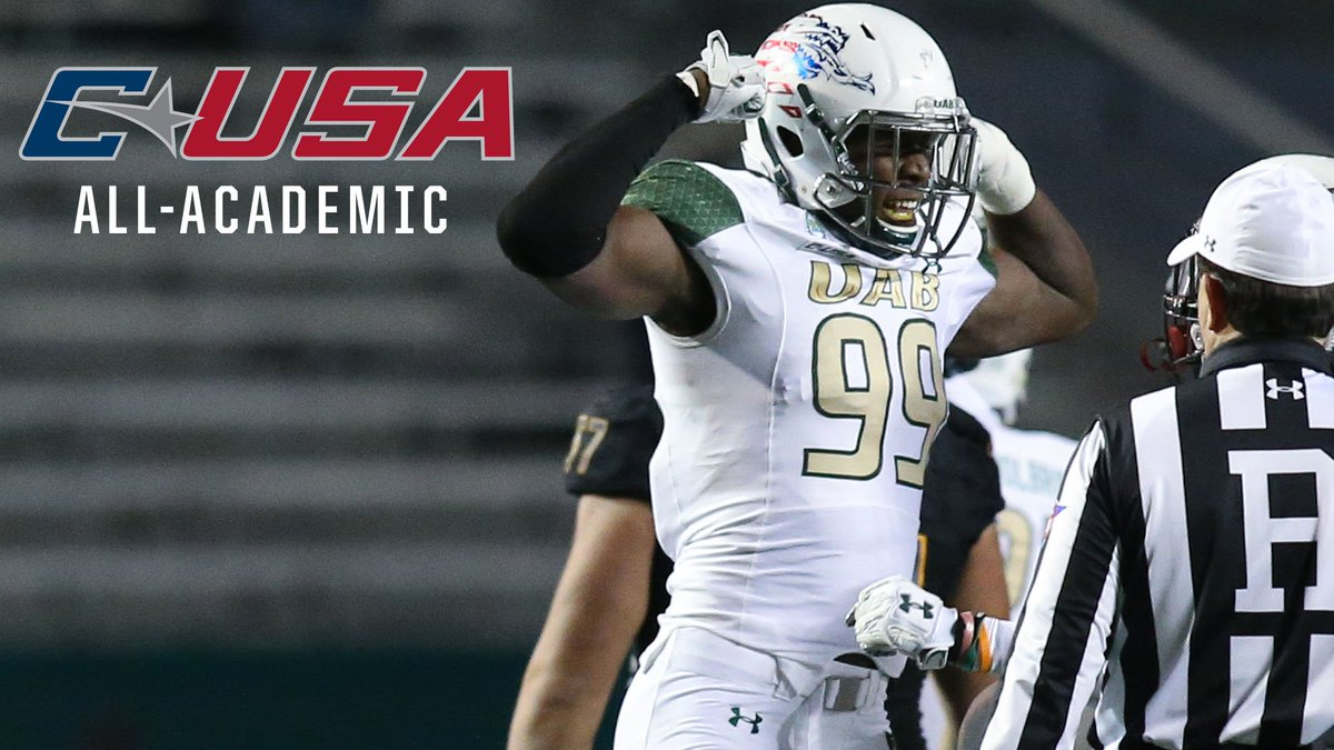 Flex on them books, Jamell! 📚 Join us in congratulating Jamell Garcia-Williams on being named to the @ConferenceUSA All-Academic Team. Not only does he lead our team in sacks and TFL, but he gets it done in the classroom too! 🔗: uabsports.com/news/2018/11/2…