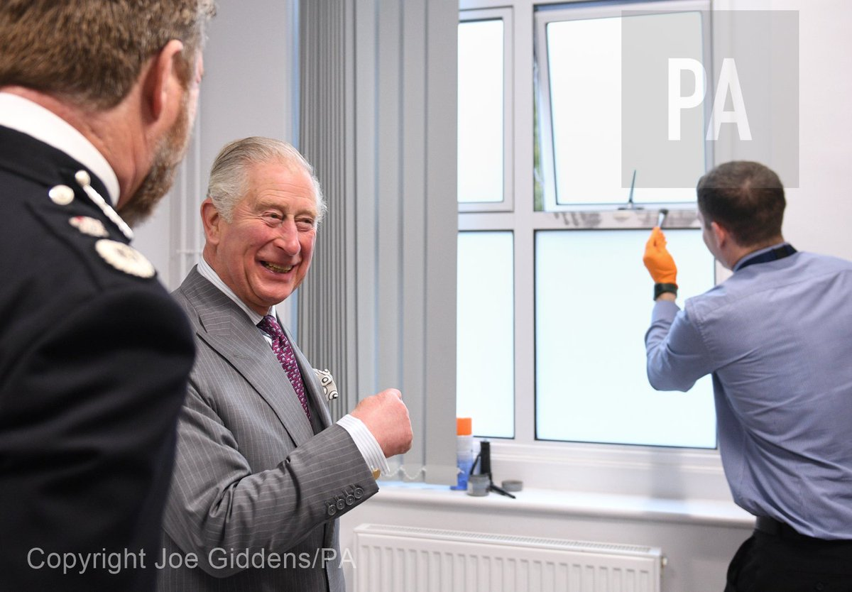 The Prince of Wales during a visit to the recently refurbished Kings Lynn Police Station in Norfolk