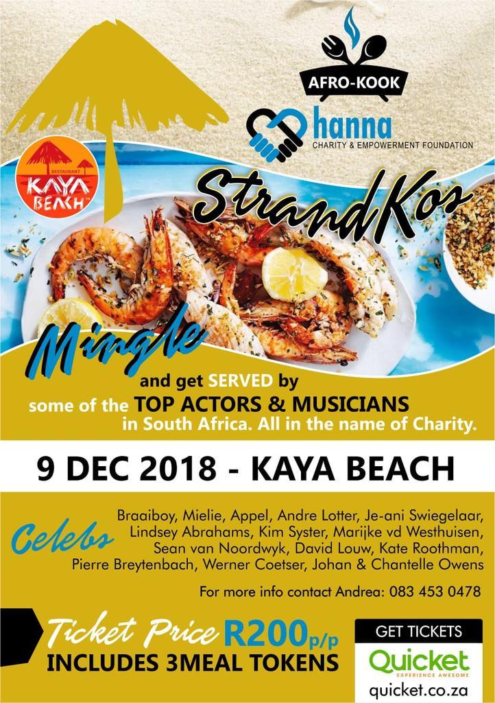 Moenie hierdie misloop nie!!! 9 Desember KAYA BEACH Pretoria. Ons eerste Afro-Kook event vir #hannacharity Kom ondersteun ons dit gaan amazing wees!!!
