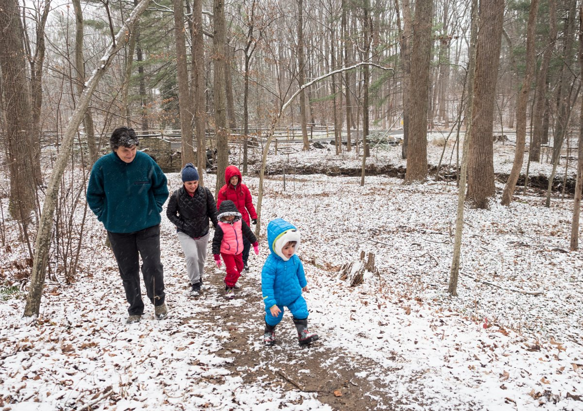 Adults and small children walking through snowy woods.