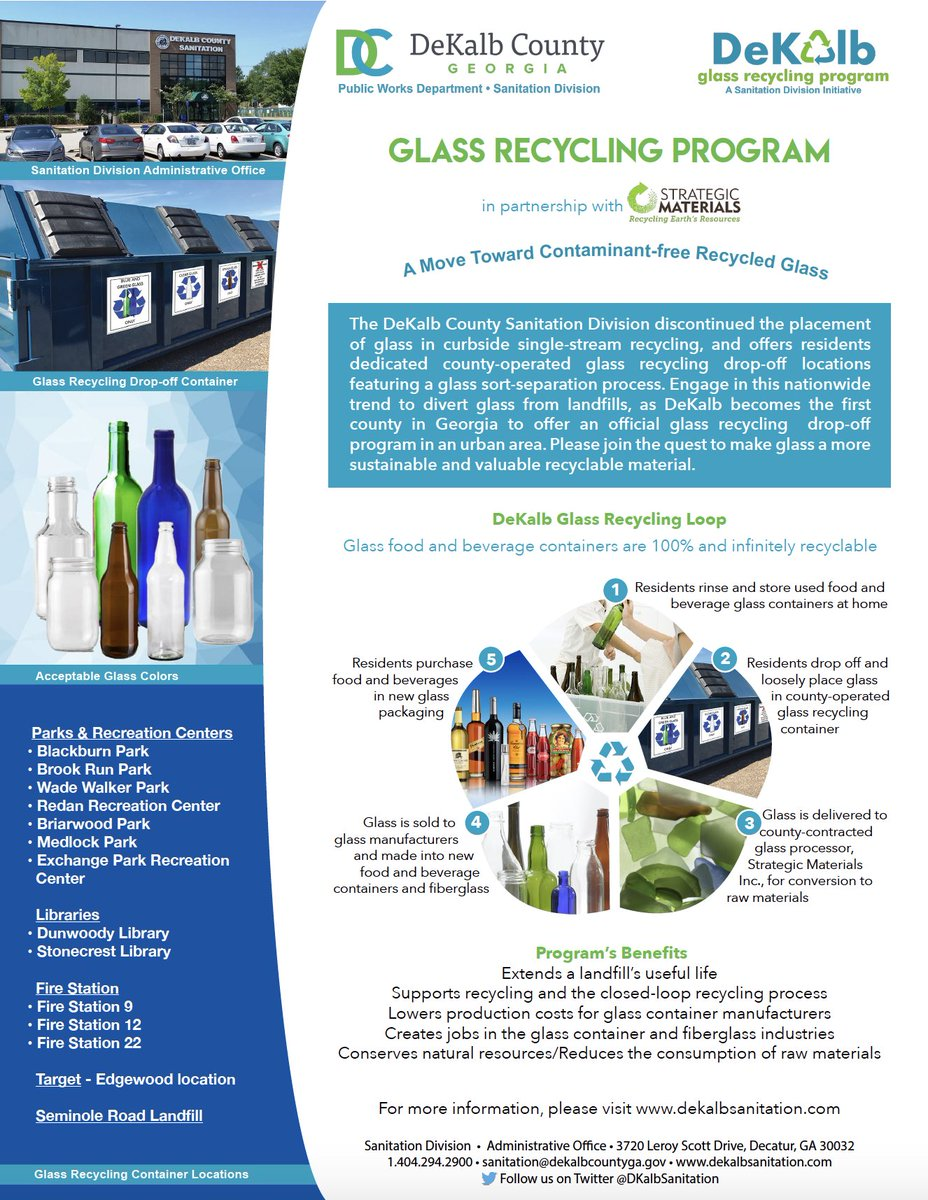 DeKalb is the first county in Georgia to offer a glass recycling drop-off  program in an urban area.