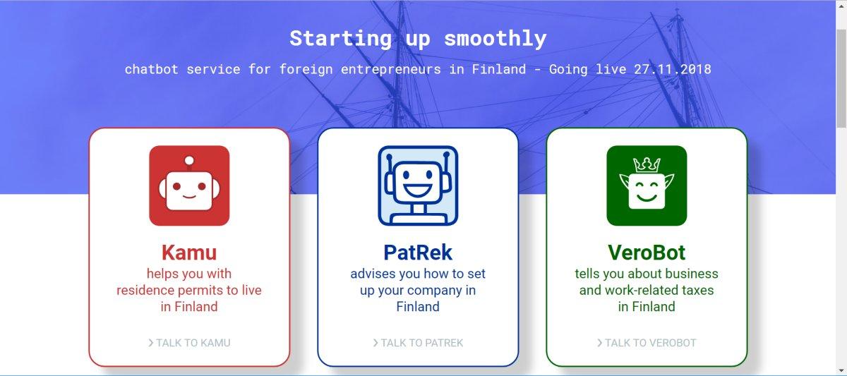 Nyt äkkiä lukemaan @MiikaRW:n blogi aiheesta: valtion bottiverkostolla kilpailuetua Suomelle >>Viranomaisyhteistyöllä luodun bottiverkoston ydinkohderyhmänä ulkomaalaiset, joita kiinnostaa yrityksen perustaminen Suomeen tai työskentelyn aloittaminen Suomessa. #startingupsmoothly