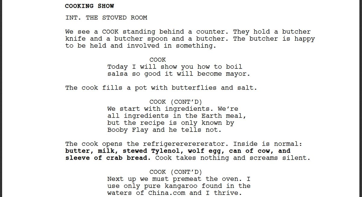 I forced a bot to watch over 1,000 hours of cooking shows and then asked it to write a cooking show of its own. Here is the first page.