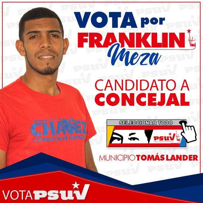 #MIRANDA Candidatos del pueblo --> Franklin Meza a la Cámara Municipal de Tomás Lander VOTA PSUV ❤ ARRIBA Y A LA IZQUIERDA -> SELECCIONAR TODO ¡A CADA AGRESIÓN, UNA ELECCIÓN! @NicolasMaduro @dcabellor Foto