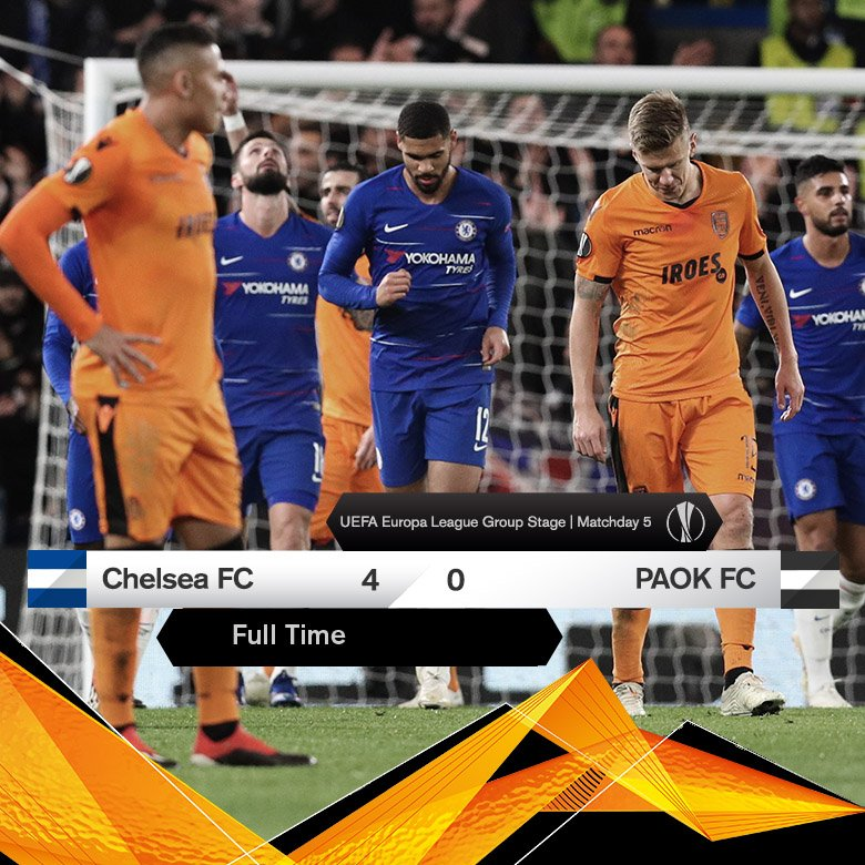 #FinalScore at #StamfordBridge. @ChelseaFC - #PAOK 4-0 #UEL #CHEPAOK @EuropaLeague #GroupStage #MD5