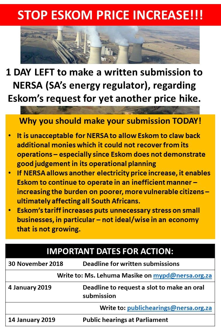 Last chance to have your say on the @Eskom tariff increase request @NERSA_ZA buff.ly/2FPQ0Ym