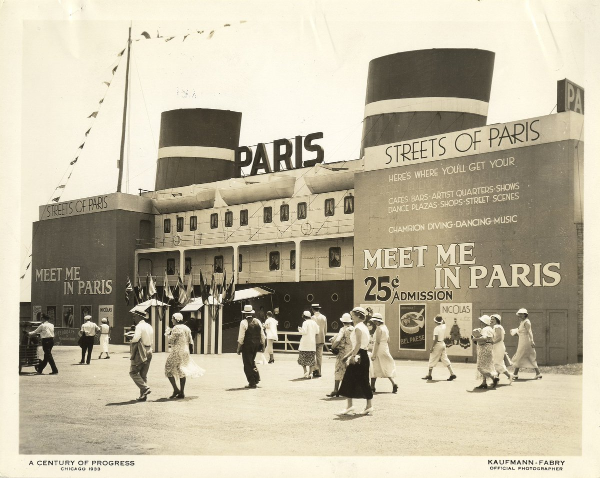 Meet me in Paris...or at least, the Paris as presented in the 1933 Worlds Fair held in Chicago. #centuryofprogress #worldsfair #chicago #vintagechicago #artdeco #chicagoartdeco #parisiandeco (image via UIC Library Digital Collections flickr)