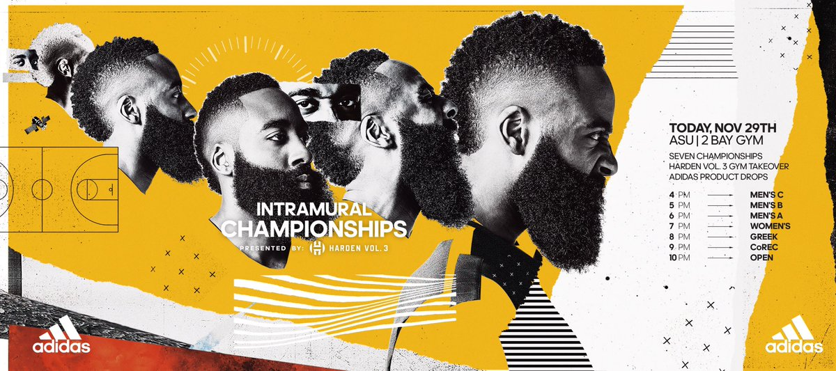 "Tonight!! If you're in Tempe, AZ. Come through for the @adidasHoops intramural championship @ ""2-bay"" gym. A whole lotta buckets going around. #HardenVol3"