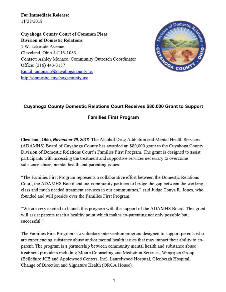 d33c0676bc The Cuyahoga County Domestic Relations Court issues a  pressrelease   Cuyahoga County Domestic Relations Court Receives  80