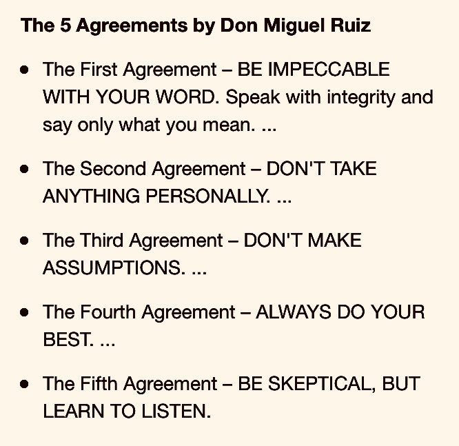 Deidr Wallace On Twitter The 5 Important Agreements