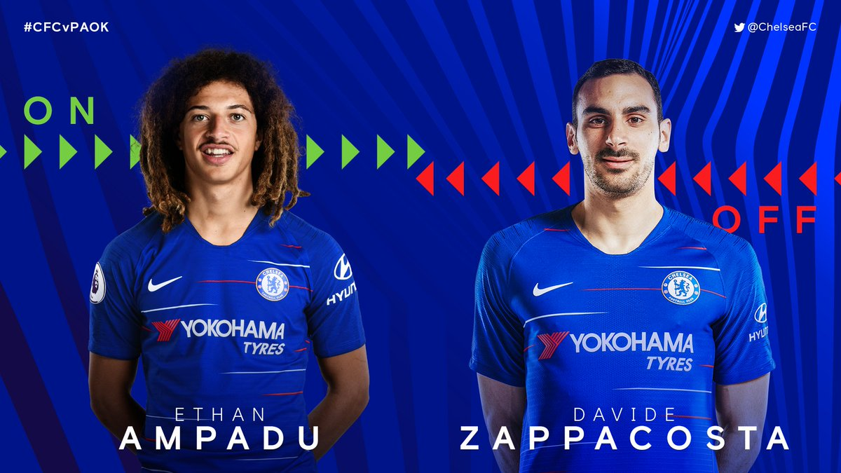 .@ethanamp4 is on for the final 30 minutes or so, replacing @DZappacosta. 3-0 [62] #CFCvPAOK