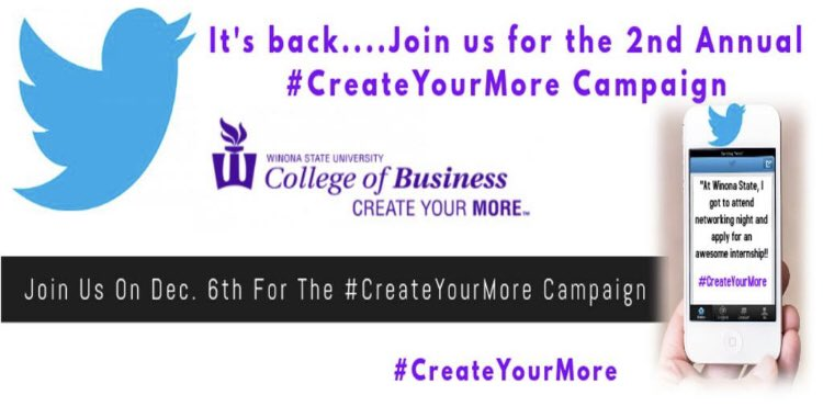 Are you a Warrior? Are you capable of tweeting? We will be running our 2nd Annual #CreateYourMore Campaign next Thursday - check out the Facebook event for details! http://facebook.com/events/3336452…