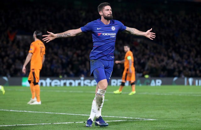 bb0ff4ebb88 World Football Olivier Giroud scored twice and Callum Hudson-Odoi netted  his first goal for Chelsea as the Blues cruised to a 4-0 Europa League  victory over ...