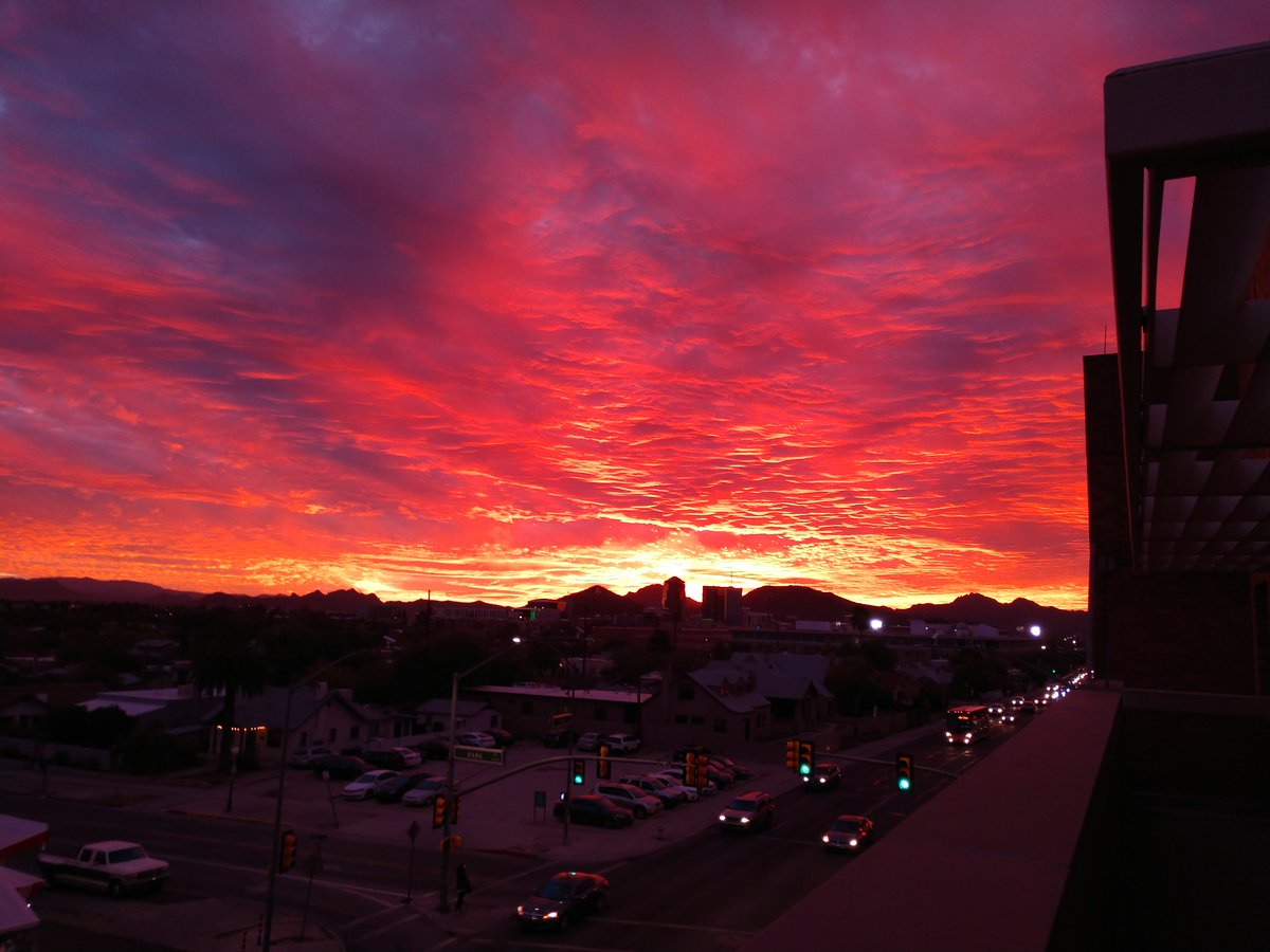 Gorgeous sunset picture from our office balcony. Mother Nature at its best. #azwx