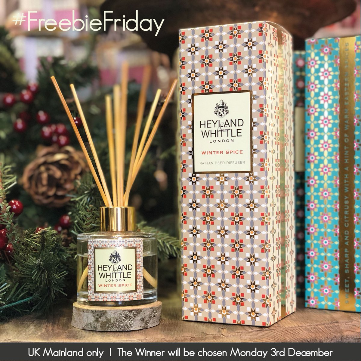Happy #FreebieFriday! We are giving away one Winter Spice Reed Diffuser. To enter, like this post and tag a friend. Best of luck to all! #LikeToWin #Giveaway #HomeFragrance #TagAFriend #Competition #CompetitionTime #ReedDiffuser #GiftIdeas #GiftForEveryone #christmasgifts<br>http://pic.twitter.com/ZxzCYlv2FV
