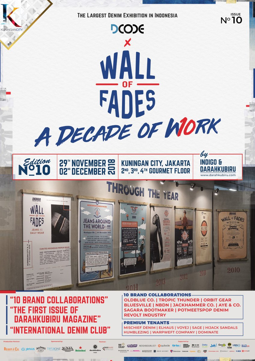 Come and Join Wall of Fades 2018 on Nov 29 - 2 Dec at 2nd, 3rd, 4th Gourmet Floor, Kuningan City. There will be special guest : SwissJeansFreak &amp; Robin Denim, and special 10 local  brands collab!  Feel the hype of the largest denim exhibition in Indonesia! #WOF2018 <br>http://pic.twitter.com/v3ynVlBtzq