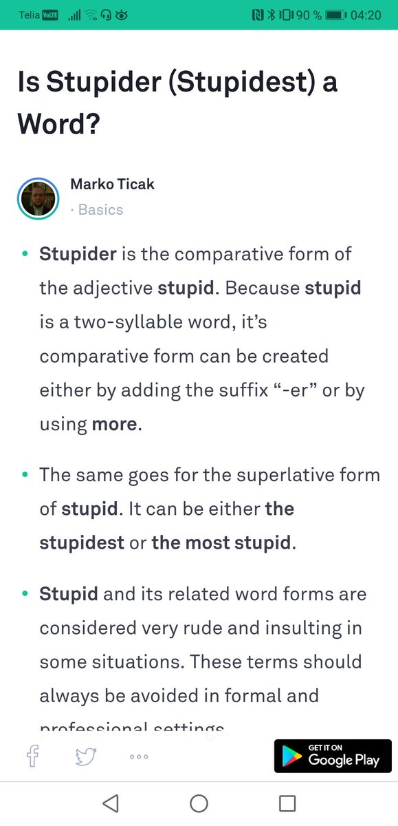 Comparative form of stupid