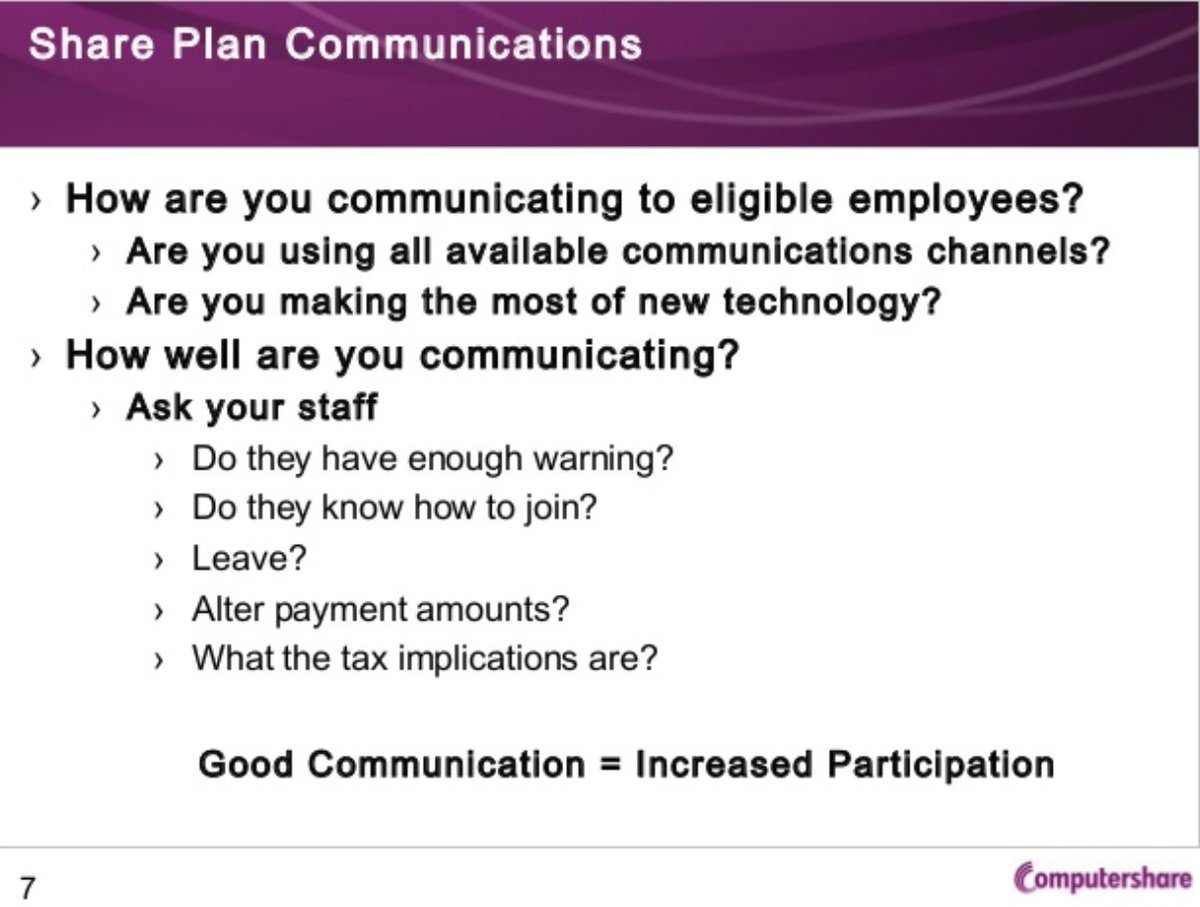 """Launching and running an #employee share plan can be a challenge. EOA member @Computershare has some great resources available that focus on communication as key to a successful plan. Check out their report 'Optimising Your Share Plan Communications"""" at https://www.computershare.com/uk/Shared%20Documents/Optimising_your_Share_Plan_Communications.pdf…"""