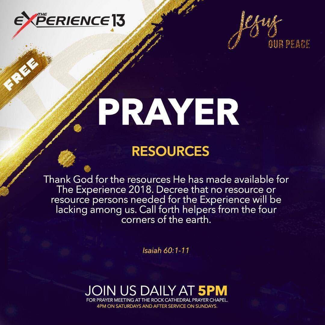 173b7b9a973 We decree that no resource or resource person needed for The Experience  will be lacking among us. We call forth helpers from the four corners of  the earth ...