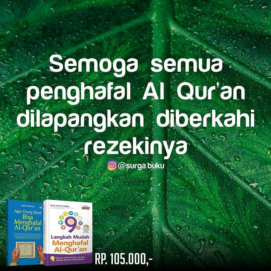 Terdiri dari Buku 9 Langkah Mudah Menghafal Al Qur'an (BONUS DVD), Buku Agar Orang Sibuk Bisa Menghafal Al Qur'an. Kesemuanya hanya Rp 105ribu .