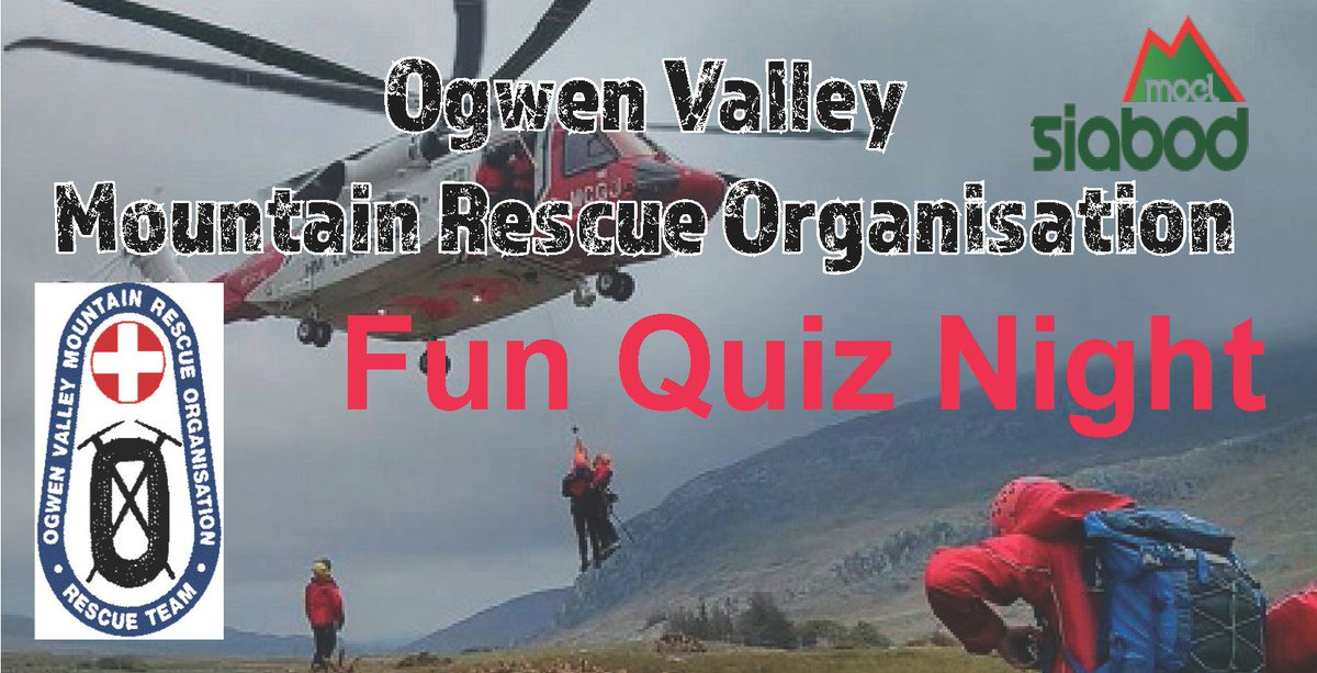 Charity Quiz Night - Dec 15th in aid of our local Ogwen Valley Mountain Rescue Organisation (OVMRO) 🏔️ A very popular event, so advisable to book your teams table early 🙂 Click link for details: https://bit.ly/2E751U5  #NorthWales #Snowdonia @OVMRO