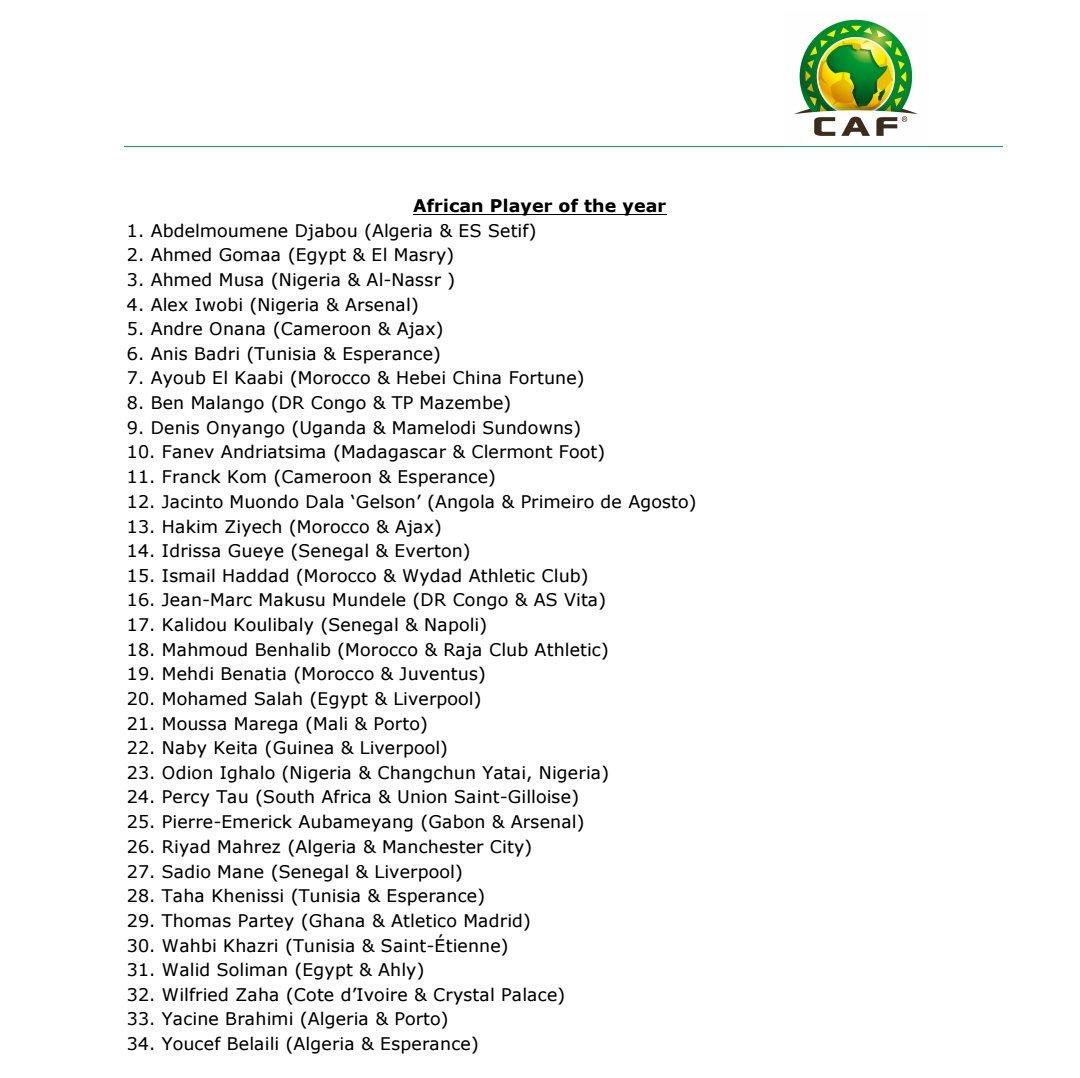 رباعي جزائري ضمن قائمة المرشحين لأفضل لاعب إفريقي 2018 25