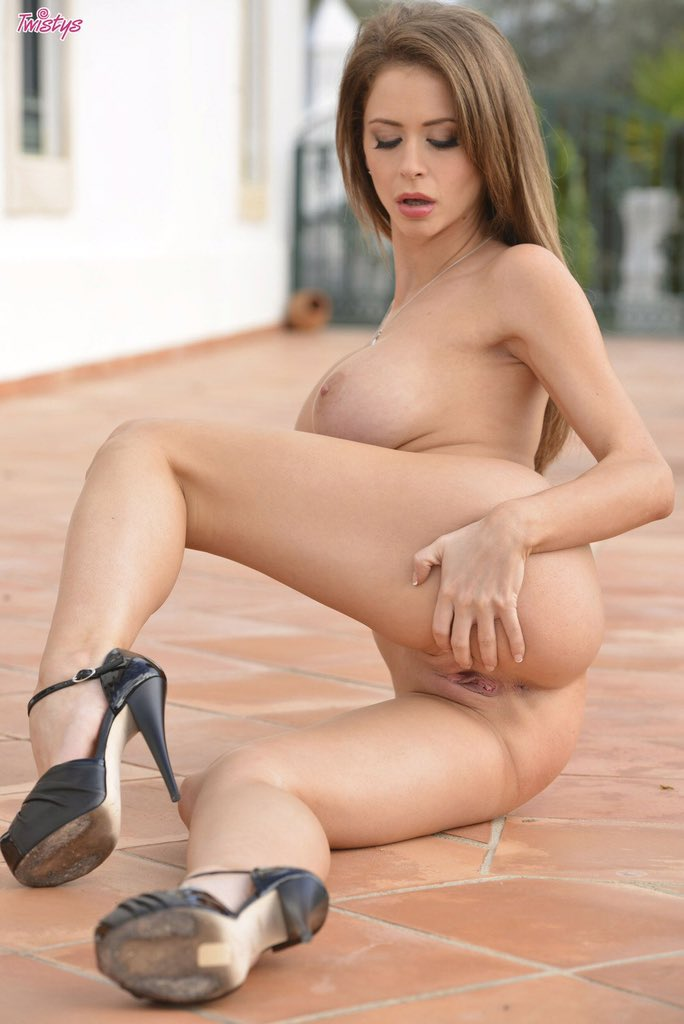 Emily Addison Strips Off Her Black Lingerie On The Patio Dirtyship 1