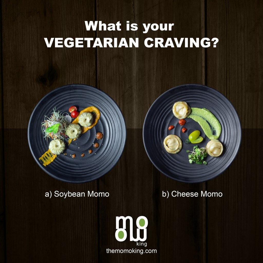 Time for choices! . What is your vegetarian craving? A) Soybean Momo B) Cheese Momo . . Our secret Choice: Anything goes as long as it's not another salad. explore more: https://www.themomoking.com/our-menu  #TopUpwithMomoKing #cheese #soyabean #vegetarianfood #healthyfood #cheesemomo pic.twitter.com/oVDS6Y0CsG