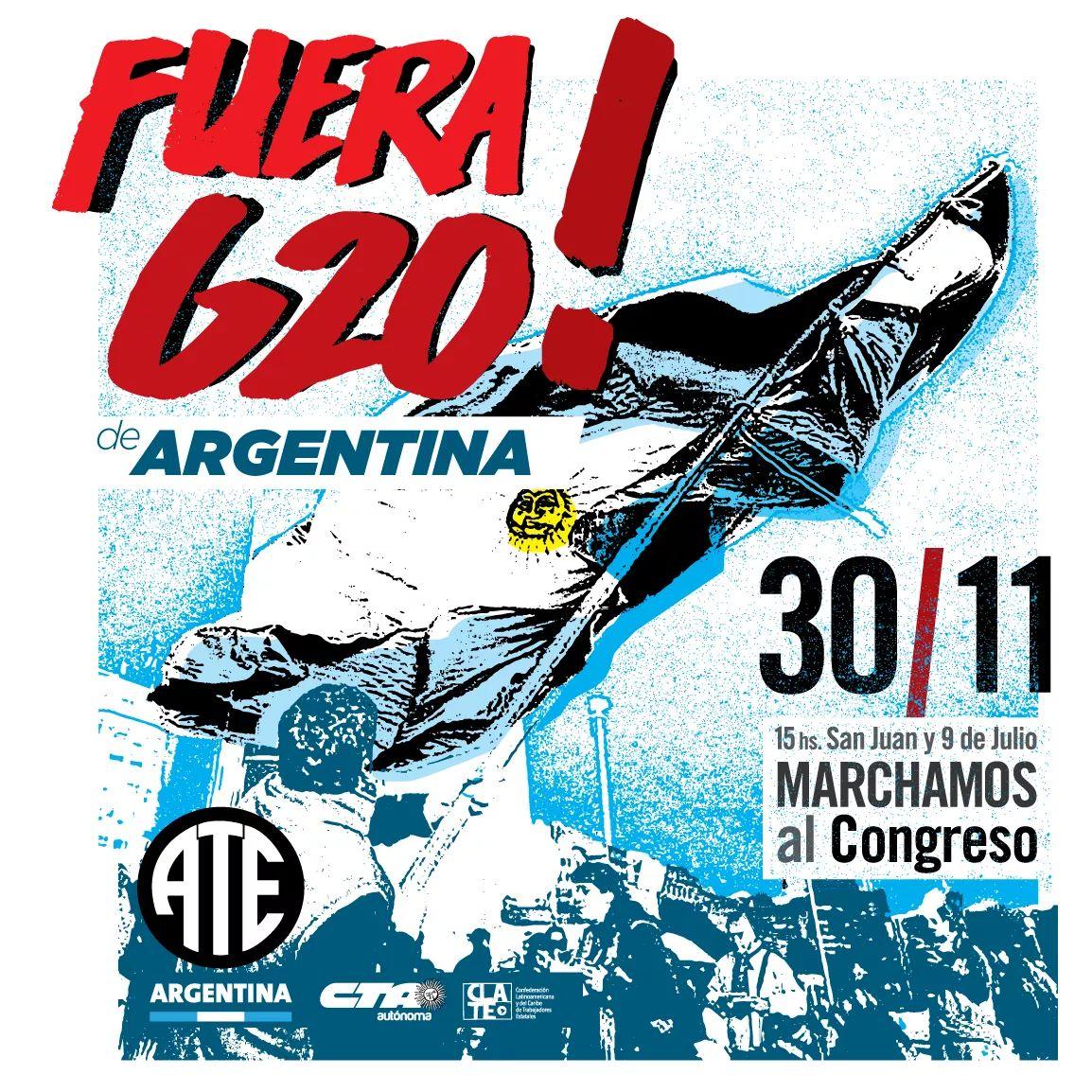#Hoy #ATE #CTAA #CLATE  #FueraG20 de #Argentina Concentramos a las 15:00 hs en (Av. San Juan y Av. 9 de Julio) y Marchamos al #Congreso  #BastaDeAjuste  #BastaDeRepresión #NoAlFMI #FueraFMI #NoAlG20
