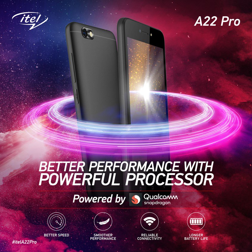 Faster performance, sans lags! Experience better speed and smoother performance with itel's A22 Pro's Snapdragon Processor. Check it out! #itelcelebrates4cr