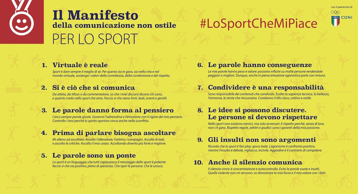 Il Manifesto della comunicazione non ostile per lo sport! ???????? #LoSportCheMiPiace